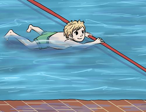 Schwimmen lernen durch sich entlanghangeln